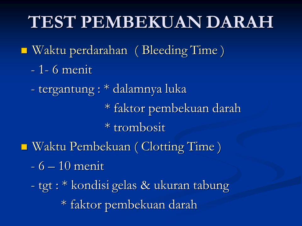 TEST PEMBEKUAN DARAH Waktu perdarahan ( Bleeding Time ) Waktu perdarahan ( Bleeding Time ) - 1- 6 menit - 1- 6 menit - tergantung : * dalamnya luka - tergantung : * dalamnya luka * faktor pembekuan darah * faktor pembekuan darah * trombosit * trombosit Waktu Pembekuan ( Clotting Time ) Waktu Pembekuan ( Clotting Time ) - 6 – 10 menit - 6 – 10 menit - tgt : * kondisi gelas & ukuran tabung - tgt : * kondisi gelas & ukuran tabung * faktor pembekuan darah * faktor pembekuan darah