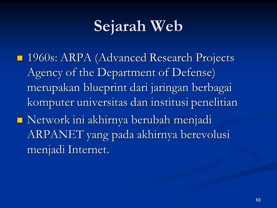 10 Sejarah Web 1960s: ARPA (Advanced Research Projects Agency of the Department of Defense) merupakan blueprint dari jaringan berbagai komputer univer