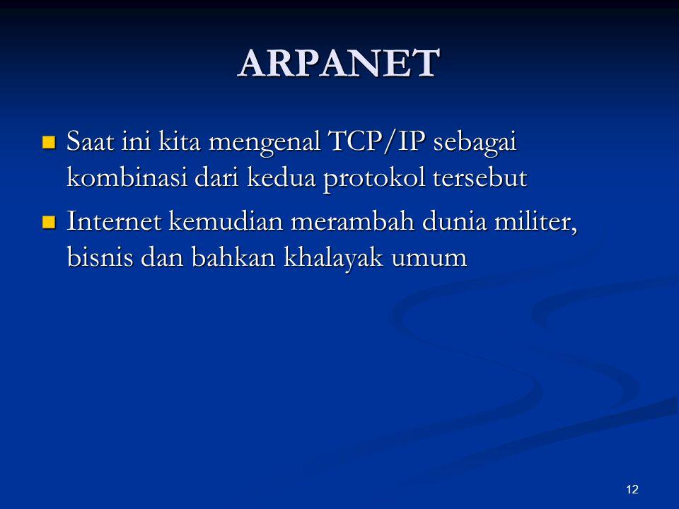 12 ARPANET Saat ini kita mengenal TCP/IP sebagai kombinasi dari kedua protokol tersebut Saat ini kita mengenal TCP/IP sebagai kombinasi dari kedua pro