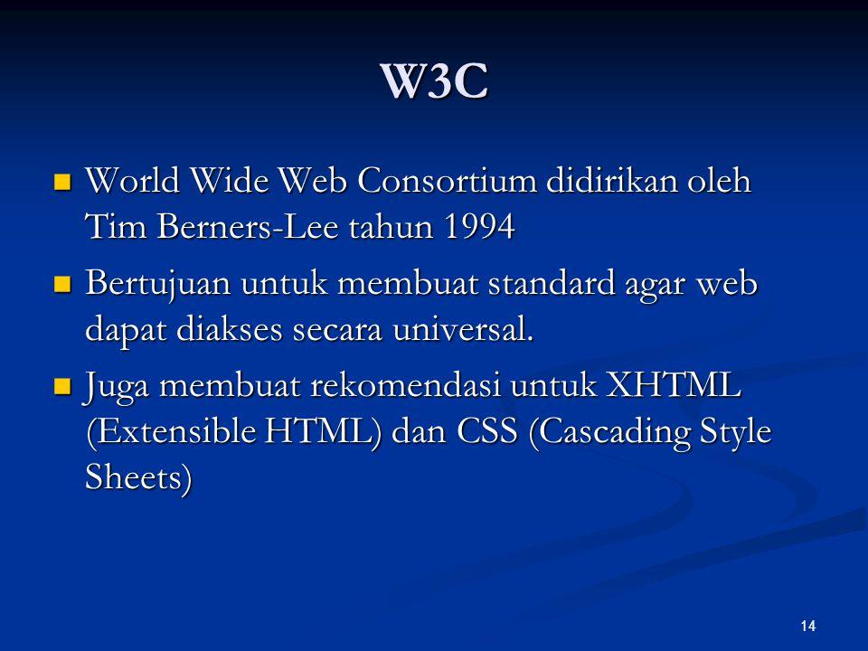 14 W3C World Wide Web Consortium didirikan oleh Tim Berners-Lee tahun 1994 World Wide Web Consortium didirikan oleh Tim Berners-Lee tahun 1994 Bertuju