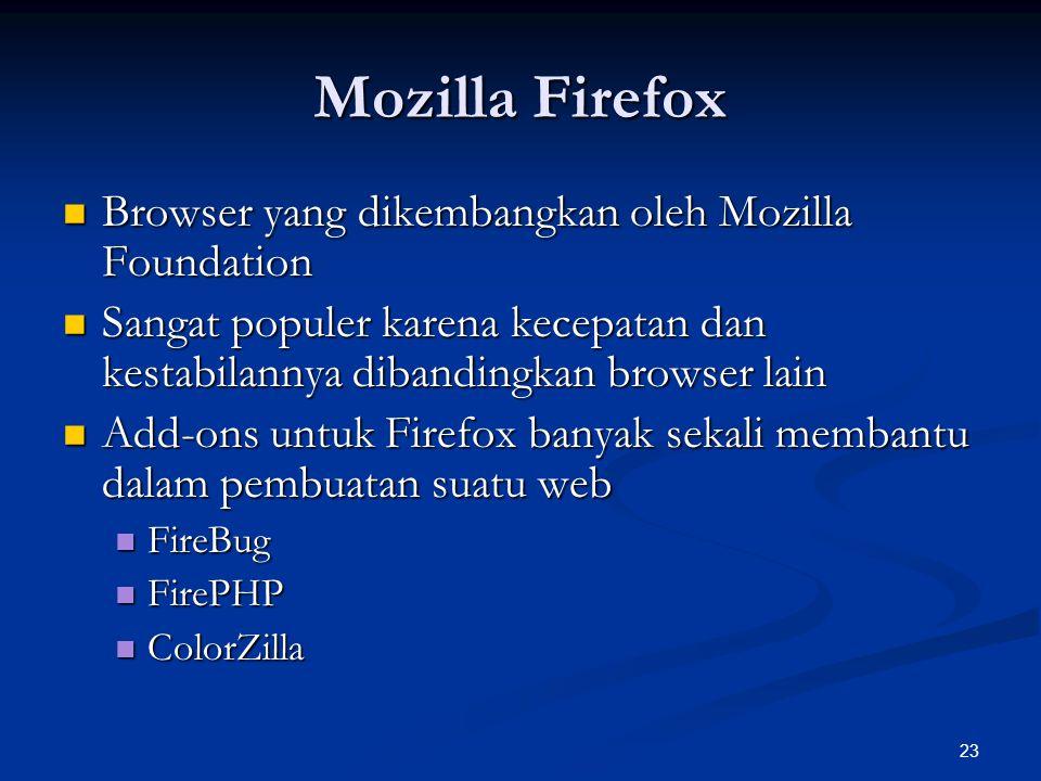 23 Mozilla Firefox Browser yang dikembangkan oleh Mozilla Foundation Browser yang dikembangkan oleh Mozilla Foundation Sangat populer karena kecepatan dan kestabilannya dibandingkan browser lain Sangat populer karena kecepatan dan kestabilannya dibandingkan browser lain Add-ons untuk Firefox banyak sekali membantu dalam pembuatan suatu web Add-ons untuk Firefox banyak sekali membantu dalam pembuatan suatu web FireBug FireBug FirePHP FirePHP ColorZilla ColorZilla