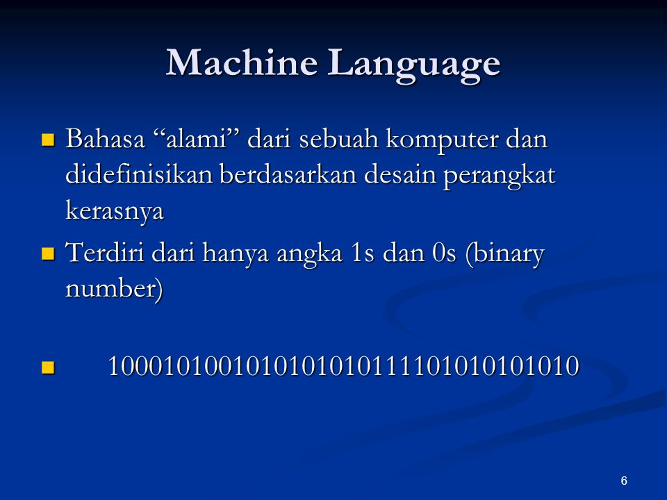 7 Assembly Language Merupakan pengembangan bahasa pemrograman yang menggunakan singkatan-singkatan bahasa Inggris dalam menentukan suatu operasi Merupakan pengembangan bahasa pemrograman yang menggunakan singkatan-singkatan bahasa Inggris dalam menentukan suatu operasi Assembler: adalah tool untuk menerjemahakan bahasa assembly ke bahasa mesin Assembler: adalah tool untuk menerjemahakan bahasa assembly ke bahasa mesin mov ah, 0 mov ah, 0 add ah, 10h add ah, 10h int 21h int 21h