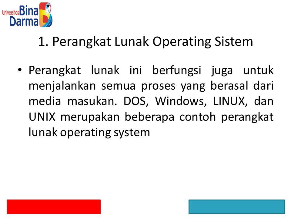 1. Perangkat Lunak Operating Sistem Perangkat lunak ini berfungsi juga untuk menjalankan semua proses yang berasal dari media masukan. DOS, Windows, L