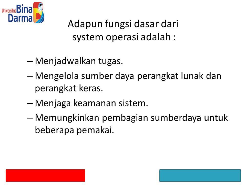 Adapun fungsi dasar dari system operasi adalah : – Menyimpan catatan pemakai.