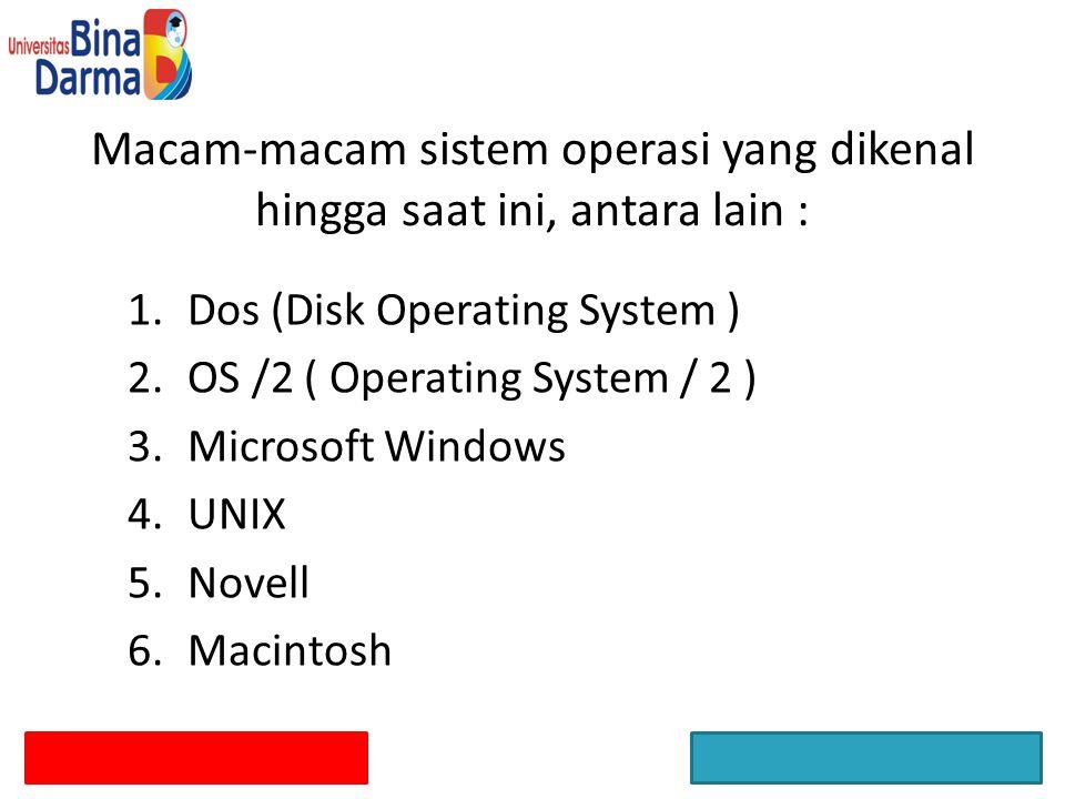 Macam-macam sistem operasi yang dikenal hingga saat ini, antara lain : 1.Dos (Disk Operating System ) 2.OS /2 ( Operating System / 2 ) 3.Microsoft Win