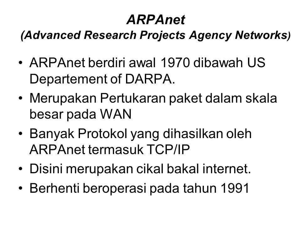 ARPAnet (Advanced Research Projects Agency Networks ) ARPAnet berdiri awal 1970 dibawah US Departement of DARPA. Merupakan Pertukaran paket dalam skal