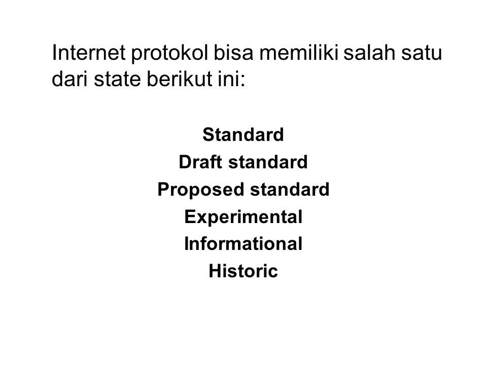 Internet protokol bisa memiliki salah satu dari state berikut ini: Standard Draft standard Proposed standard Experimental Informational Historic