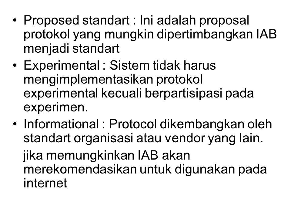 Proposed standart : Ini adalah proposal protokol yang mungkin dipertimbangkan IAB menjadi standart Experimental : Sistem tidak harus mengimplementasikan protokol experimental kecuali berpartisipasi pada experimen.