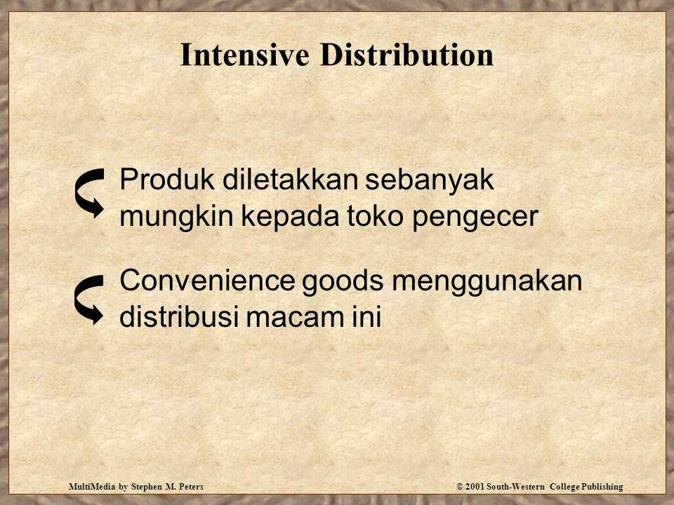 MultiMedia by Stephen M. Peters© 2001 South-Western College Publishing Intensive Distribution Produk diletakkan sebanyak mungkin kepada toko pengecer