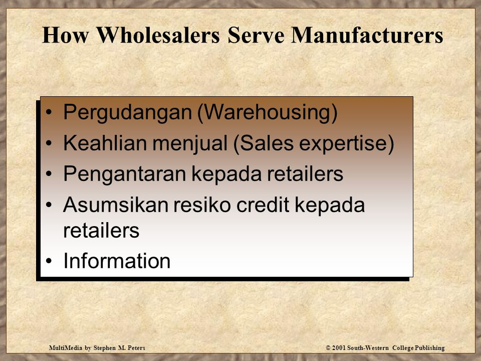 MultiMedia by Stephen M. Peters© 2001 South-Western College Publishing How Wholesalers Serve Manufacturers Pergudangan (Warehousing) Keahlian menjual