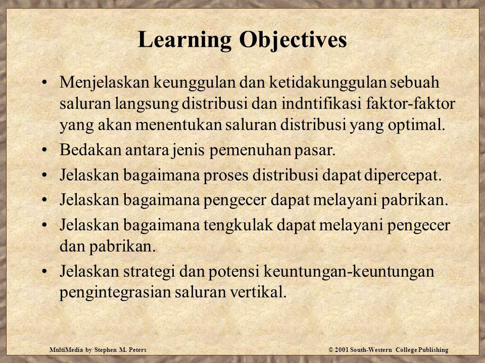 MultiMedia by Stephen M. Peters© 2001 South-Western College Publishing Learning Objectives Menjelaskan keunggulan dan ketidakunggulan sebuah saluran l