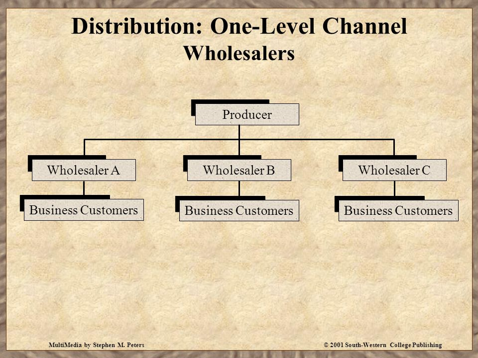 MultiMedia by Stephen M. Peters© 2001 South-Western College Publishing Distribution: One-Level Channel Wholesalers Wholesaler AWholesaler BWholesaler