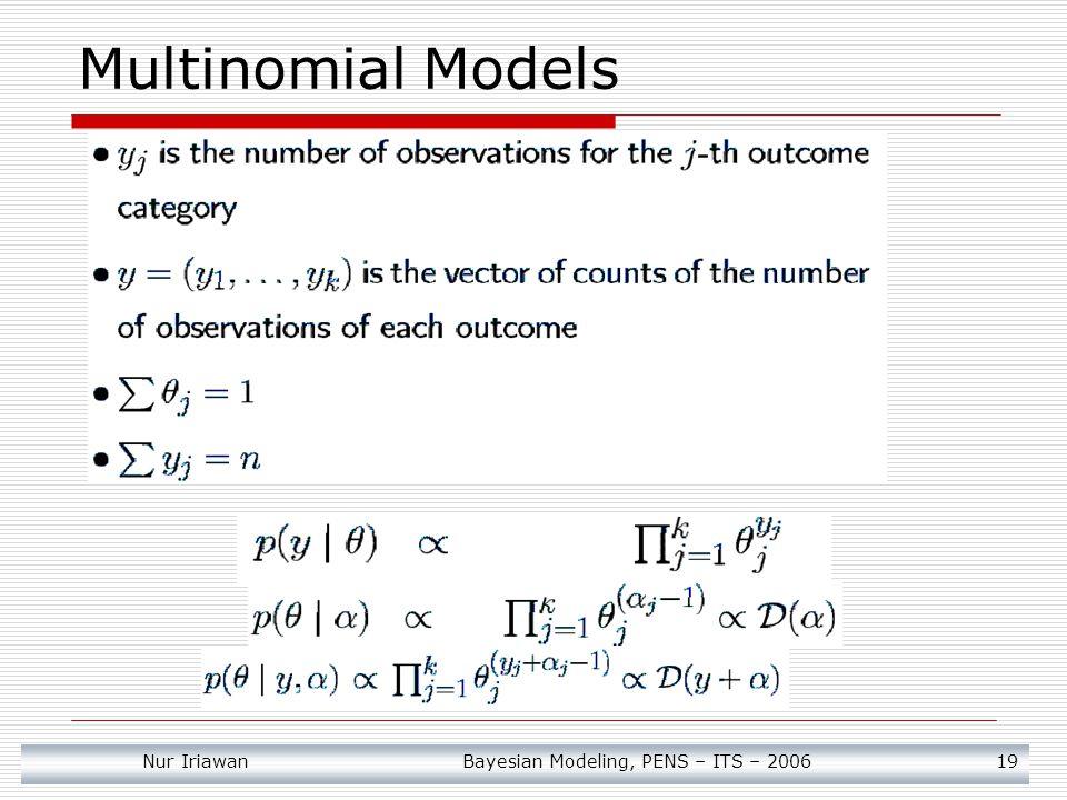 Nur Iriawan Bayesian Modeling, PENS – ITS – 2006 19 Multinomial Models