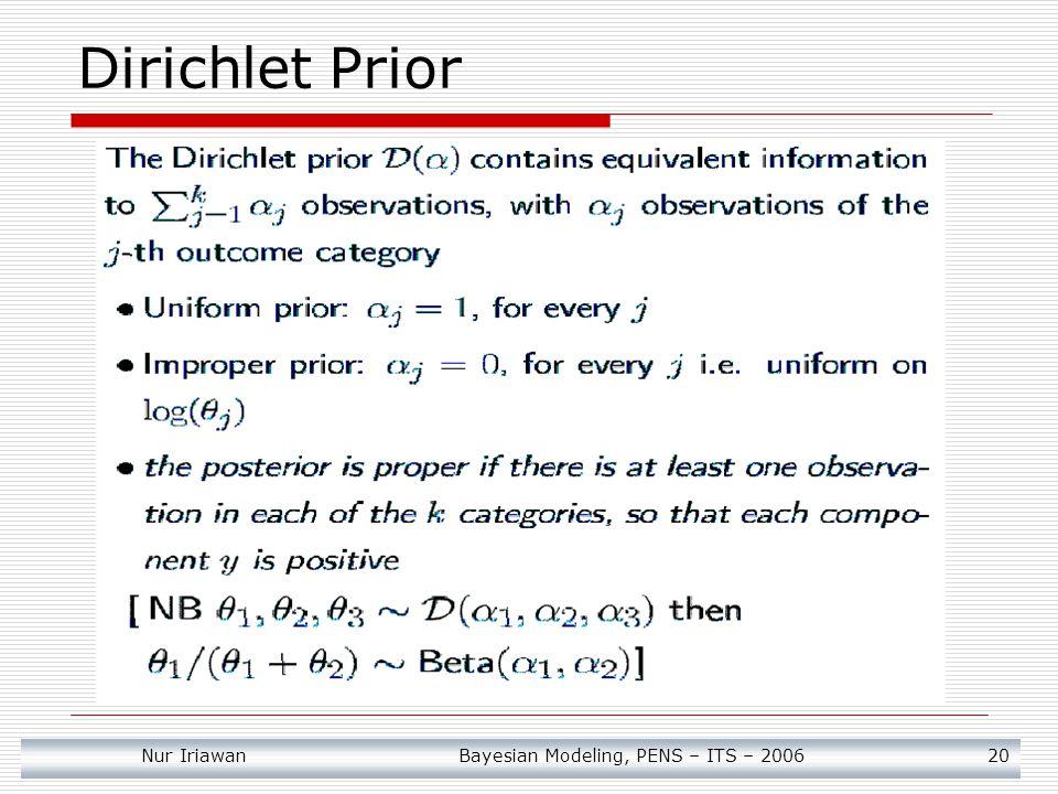 Nur Iriawan Bayesian Modeling, PENS – ITS – 2006 20 Dirichlet Prior