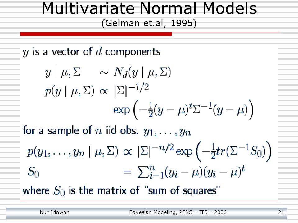 Nur Iriawan Bayesian Modeling, PENS – ITS – 2006 21 Multivariate Normal Models (Gelman et.al, 1995)