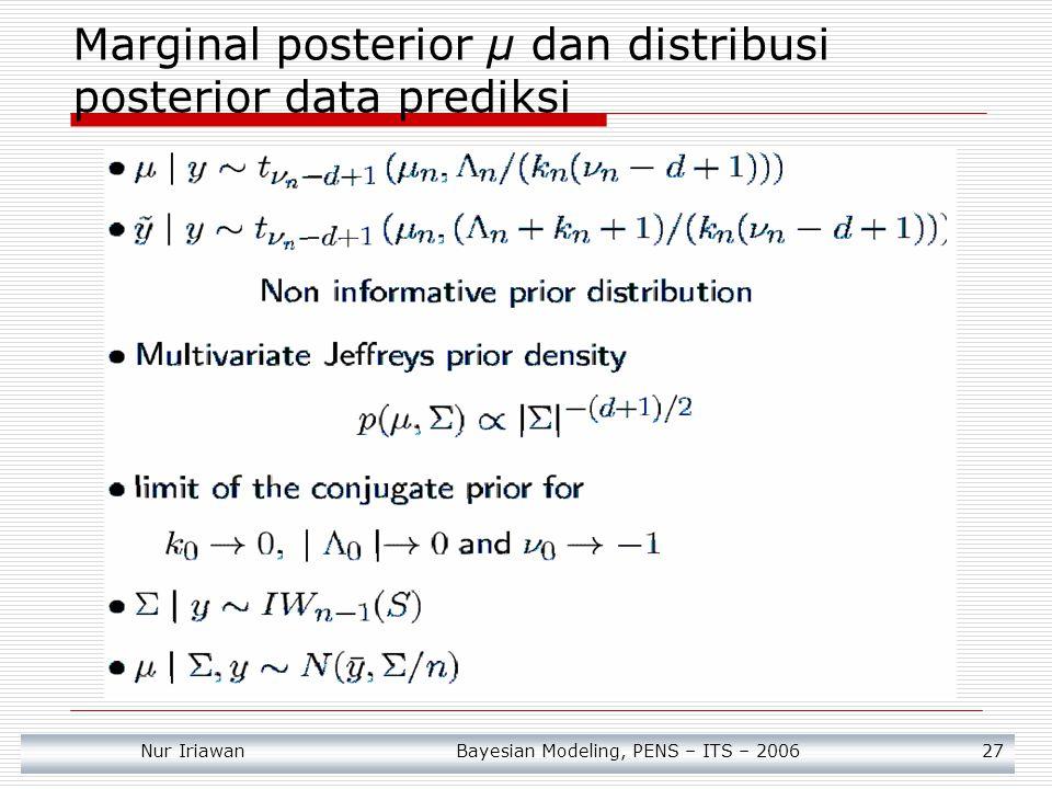 Nur Iriawan Bayesian Modeling, PENS – ITS – 2006 27 Marginal posterior μ dan distribusi posterior data prediksi