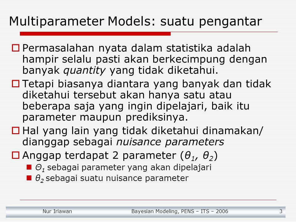 Nur Iriawan Bayesian Modeling, PENS – ITS – 2006 4  Sebagai contoh pada model Normal dengan μ and σ 2 tidak diketahui Kita dapat mempunyai tujuan untuk mempelajari tentang population mean atau μ, tetapi kita tidak perlu tahu persis mengenai population variance σ 2.