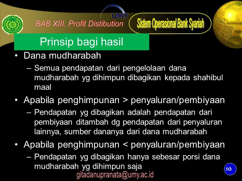10 Prinsip bagi hasil Dana mudharabah –Semua pendapatan dari pengelolaan dana mudharabah yg dihimpun dibagikan kepada shahibul maal Apabila penghimpun