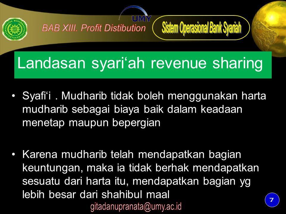 7 Landasan syari'ah revenue sharing Syafi'i. Mudharib tidak boleh menggunakan harta mudharib sebagai biaya baik dalam keadaan menetap maupun bepergian