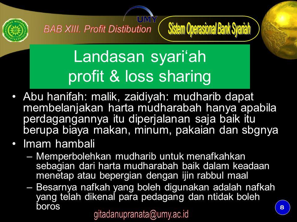 8 Landasan syari'ah profit & loss sharing Abu hanifah: malik, zaidiyah: mudharib dapat membelanjakan harta mudharabah hanya apabila perdagangannya itu