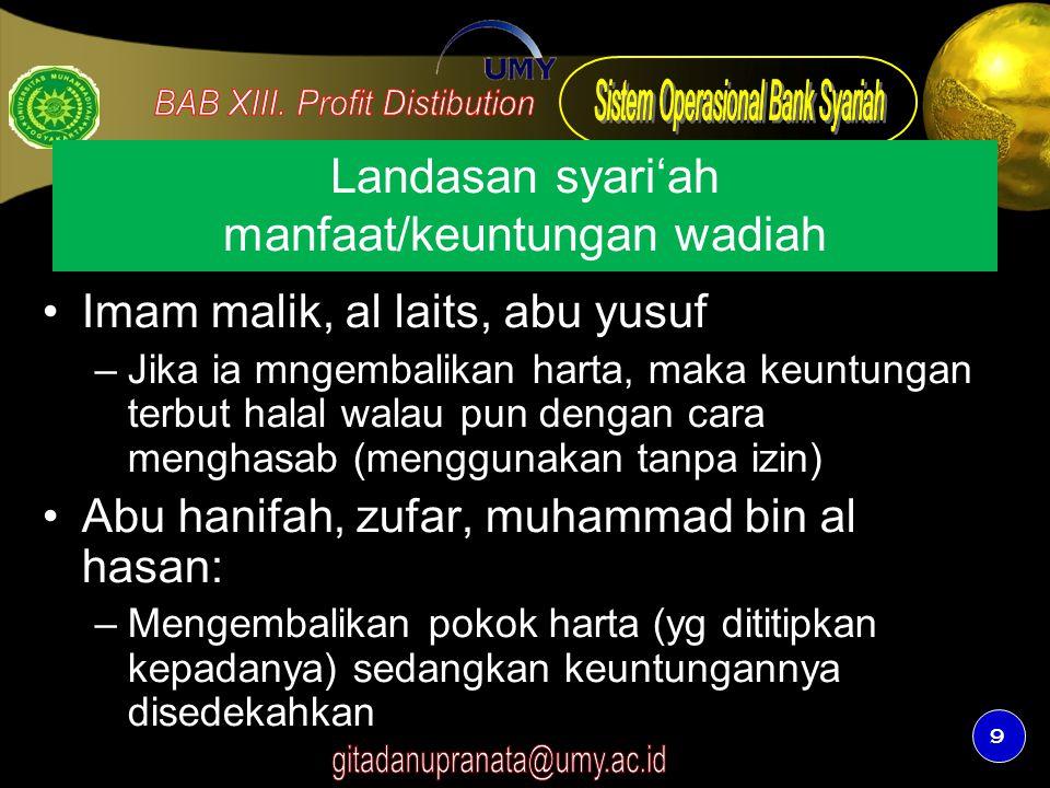 9 Landasan syari'ah manfaat/keuntungan wadiah Imam malik, al laits, abu yusuf –Jika ia mngembalikan harta, maka keuntungan terbut halal walau pun deng
