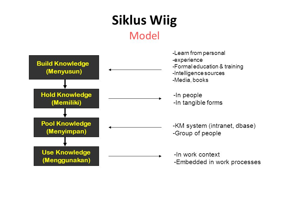 Siklus Wiig Model Build Knowledge (Menyusun) Hold Knowledge (Memiliki) Pool Knowledge (Menyimpan) Use Knowledge (Menggunakan) -Learn from personal -experience -Formal education & training -Intelligence sources -Media, books -In people -In tangible forms -KM system (intranet, dbase) -Group of people -In work context -Embedded in work processes
