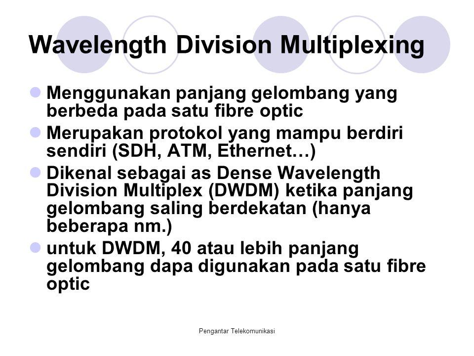 Pengantar Telekomunikasi Wavelength Division Multiplexing Menggunakan panjang gelombang yang berbeda pada satu fibre optic Merupakan protokol yang mam