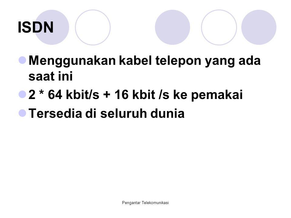 Pengantar Telekomunikasi ISDN Menggunakan kabel telepon yang ada saat ini 2 * 64 kbit/s + 16 kbit /s ke pemakai Tersedia di seluruh dunia