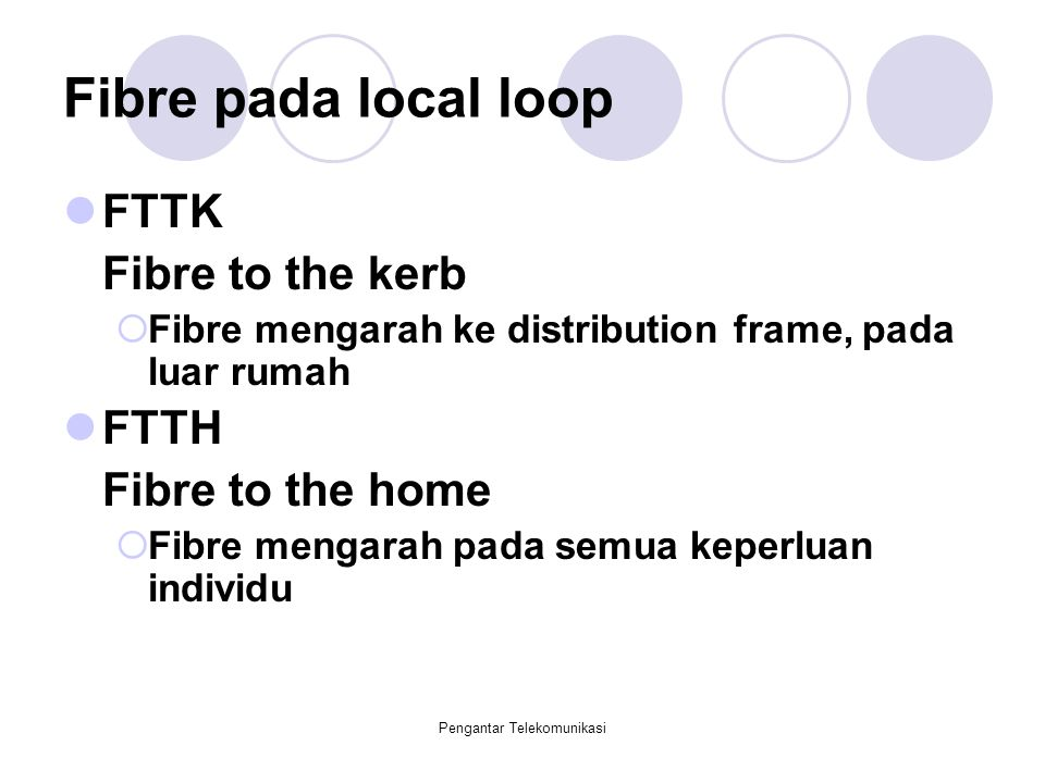 Pengantar Telekomunikasi Fibre pada local loop FTTK Fibre to the kerb  Fibre mengarah ke distribution frame, pada luar rumah FTTH Fibre to the home 