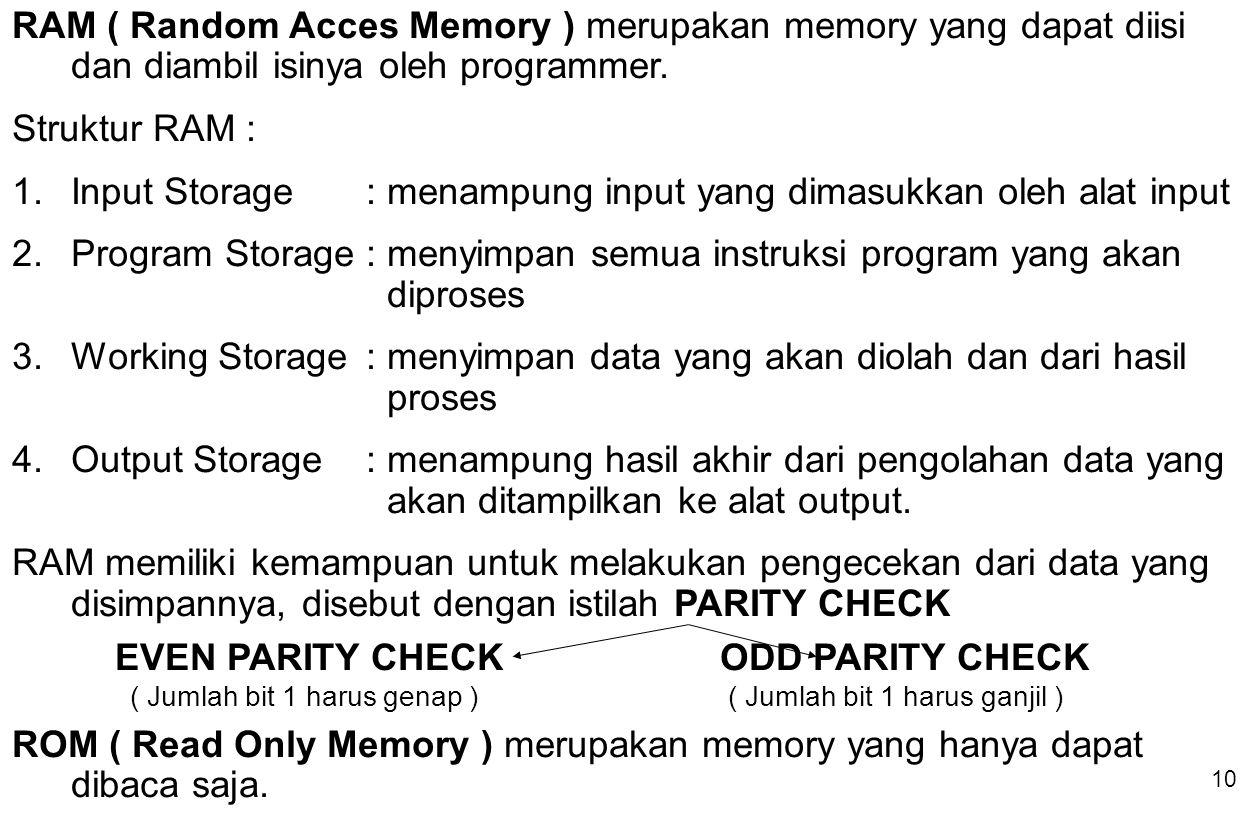 10 RAM ( Random Acces Memory ) merupakan memory yang dapat diisi dan diambil isinya oleh programmer. Struktur RAM : 1.Input Storage: menampung input y