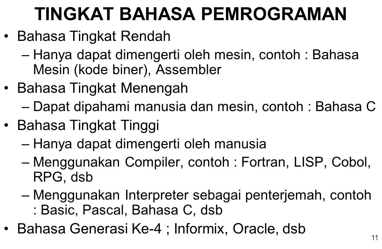 11 TINGKAT BAHASA PEMROGRAMAN Bahasa Tingkat Rendah –Hanya dapat dimengerti oleh mesin, contoh : Bahasa Mesin (kode biner), Assembler Bahasa Tingkat Menengah –Dapat dipahami manusia dan mesin, contoh : Bahasa C Bahasa Tingkat Tinggi –Hanya dapat dimengerti oleh manusia –Menggunakan Compiler, contoh : Fortran, LISP, Cobol, RPG, dsb –Menggunakan Interpreter sebagai penterjemah, contoh : Basic, Pascal, Bahasa C, dsb Bahasa Generasi Ke-4 ; Informix, Oracle, dsb