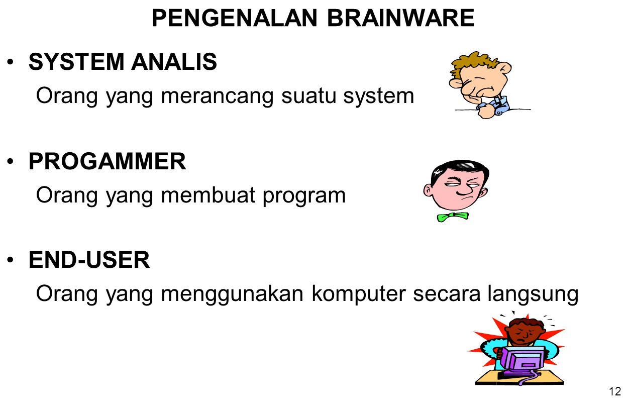 12 PENGENALAN BRAINWARE SYSTEM ANALIS Orang yang merancang suatu system PROGAMMER Orang yang membuat program END-USER Orang yang menggunakan komputer secara langsung
