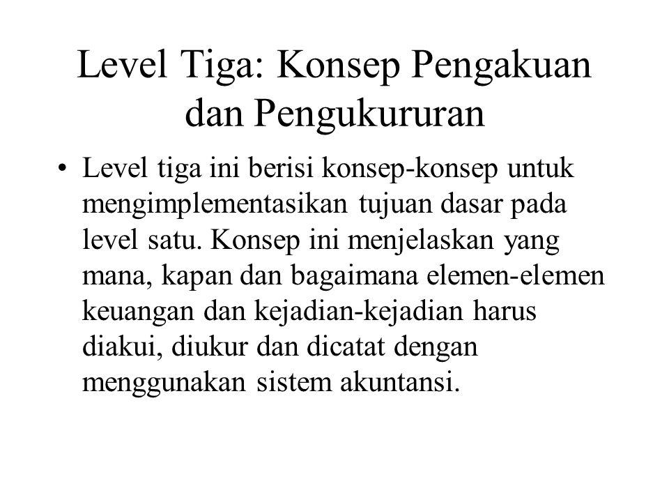 Level Tiga: Konsep Pengakuan dan Pengukururan Level tiga ini berisi konsep-konsep untuk mengimplementasikan tujuan dasar pada level satu. Konsep ini m