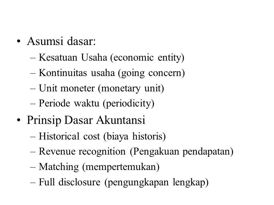 Asumsi dasar: –Kesatuan Usaha (economic entity) –Kontinuitas usaha (going concern) –Unit moneter (monetary unit) –Periode waktu (periodicity) Prinsip