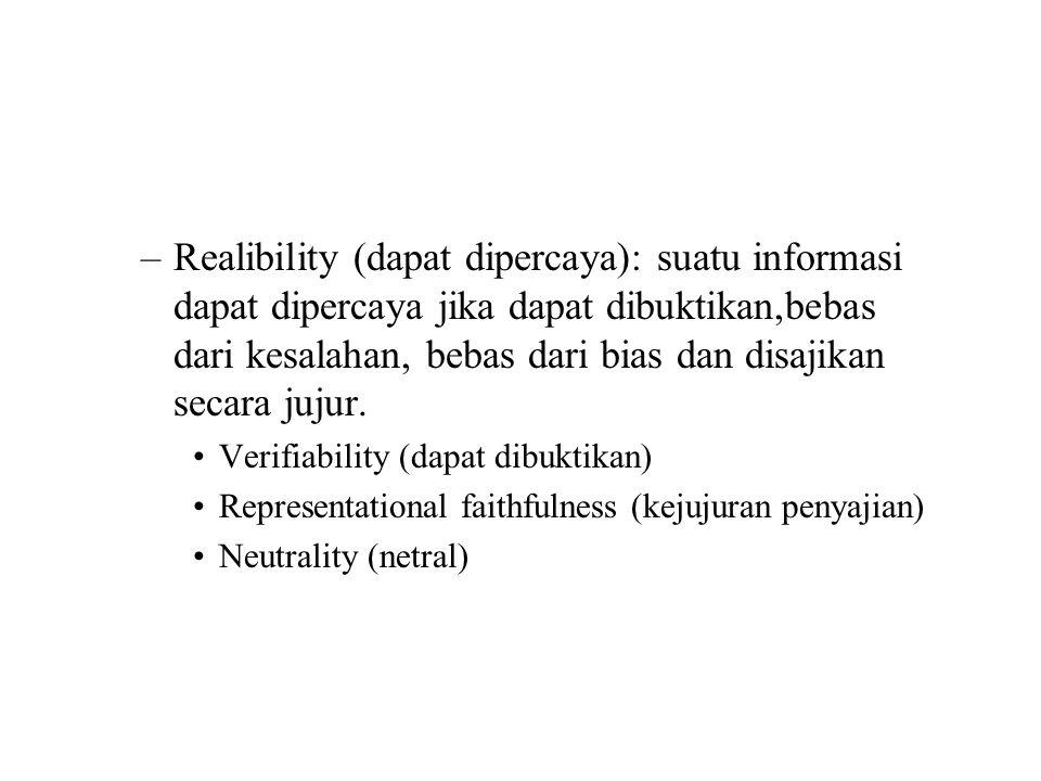Kualitas sekunder –Comparability (dapat diperbandingkan): informasi dinilai dan dilaporkan dengan cara yang sama –Consistency (konsisten): penerapan perlakukan akuntansi yang sama atas kejadian yang sama selama beberapa periode.