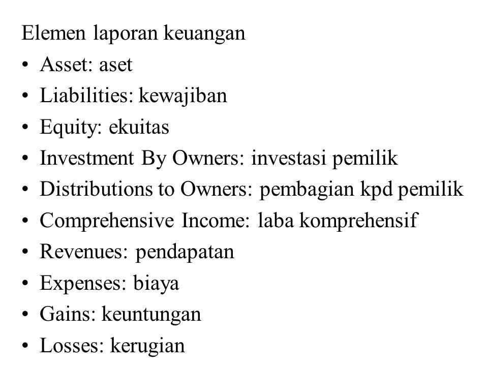 Elemen laporan keuangan Asset: aset Liabilities: kewajiban Equity: ekuitas Investment By Owners: investasi pemilik Distributions to Owners: pembagian kpd pemilik Comprehensive Income: laba komprehensif Revenues: pendapatan Expenses: biaya Gains: keuntungan Losses: kerugian
