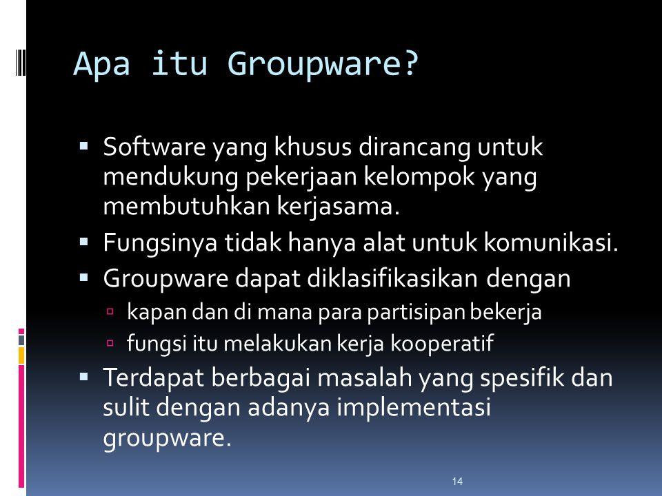 Apa itu Groupware?  Software yang khusus dirancang untuk mendukung pekerjaan kelompok yang membutuhkan kerjasama.  Fungsinya tidak hanya alat untuk