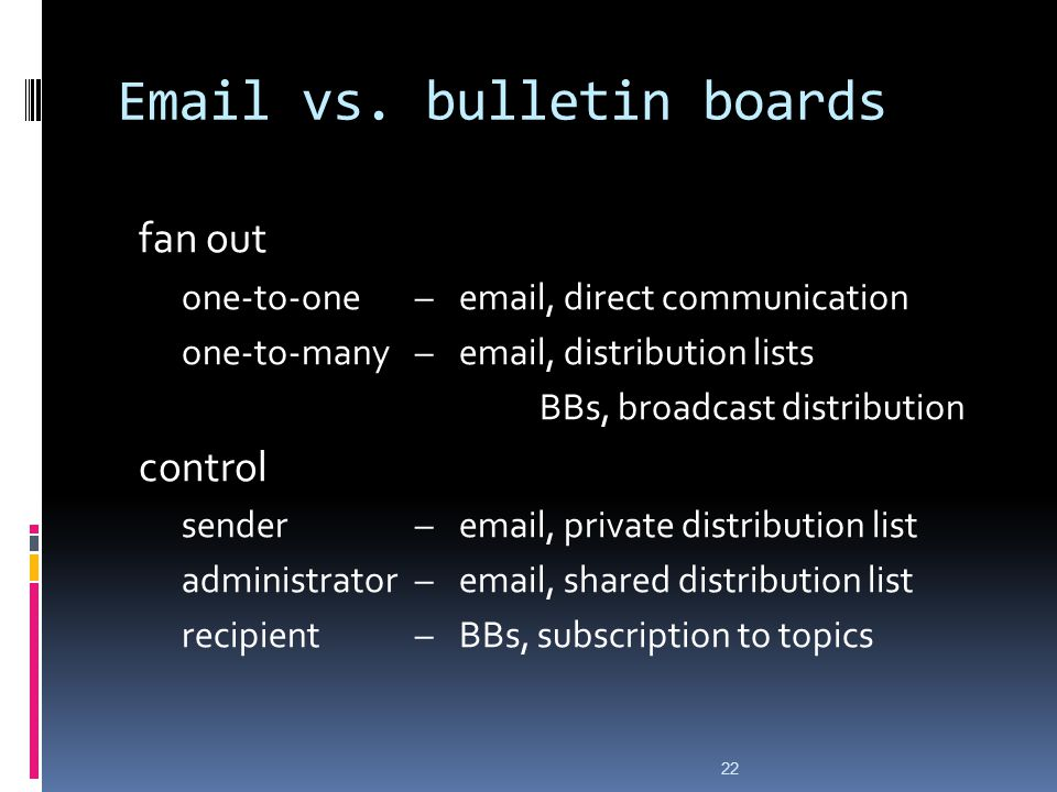 Email vs. bulletin boards fan out one-to-one–email, direct communication one-to-many–email, distribution lists BBs, broadcast distribution control sen