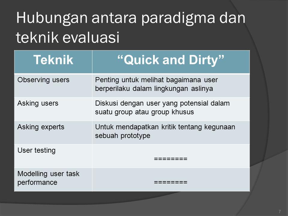"""Hubungan antara paradigma dan teknik evaluasi Teknik""""Quick and Dirty"""" Observing usersPenting untuk melihat bagaimana user berperilaku dalam lingkungan"""