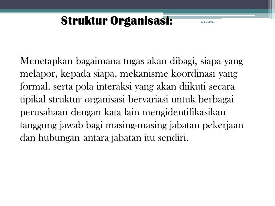 4/11/2015 Manajemen Team Struktur Organisasi Mengelola Karyawan Organizational Plan Organisasi : adalah kesatuan / entity sosial yang dikoordinasikan