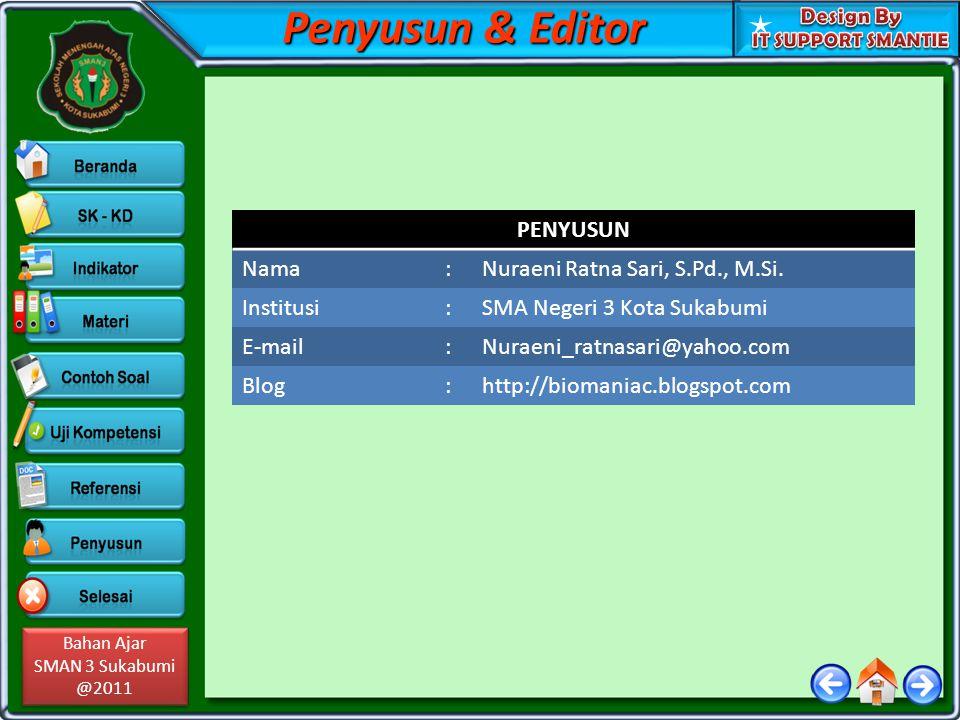 Bahan Ajar SMAN 3 Sukabumi @2011 Bahan Ajar SMAN 3 Sukabumi @2011 Penyusun & Editor PENYUSUN Nama:Nuraeni Ratna Sari, S.Pd., M.Si.