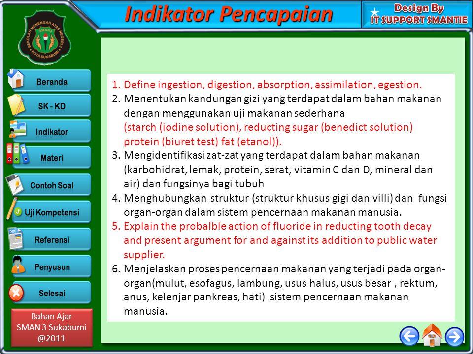 Bahan Ajar SMAN 3 Sukabumi @2011 Bahan Ajar SMAN 3 Sukabumi @2011 Indikator Pencapaian 1.