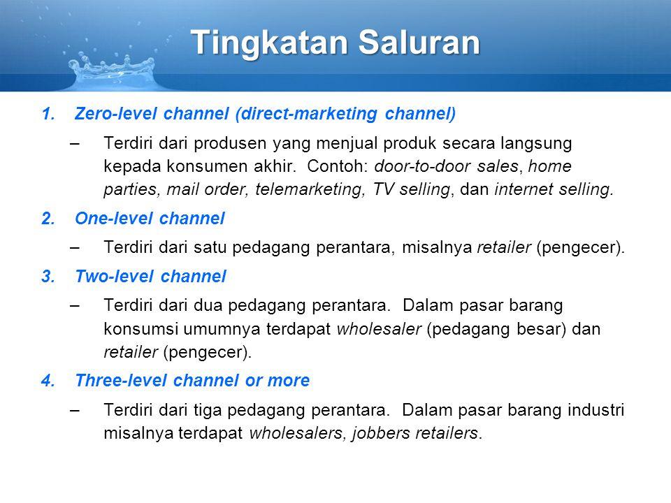 Tingkatan Saluran 1.Zero-level channel (direct-marketing channel) –Terdiri dari produsen yang menjual produk secara langsung kepada konsumen akhir. Co