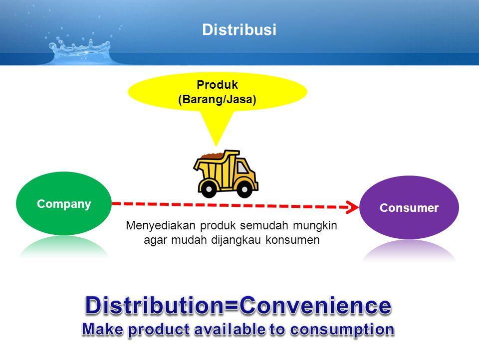 Distribusi Menyediakan produk semudah mungkin agar mudah dijangkau konsumen Produk (Barang/Jasa)