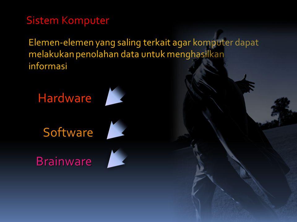 Elemen-elemen yang saling terkait agar komputer dapat melakukan penolahan data untuk menghasilkan informasi Sistem Komputer Hardware Software Brainwar