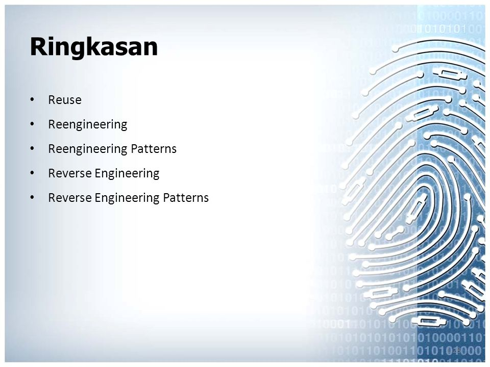 1.28 Ringkasan Reuse Reengineering Reengineering Patterns Reverse Engineering Reverse Engineering Patterns