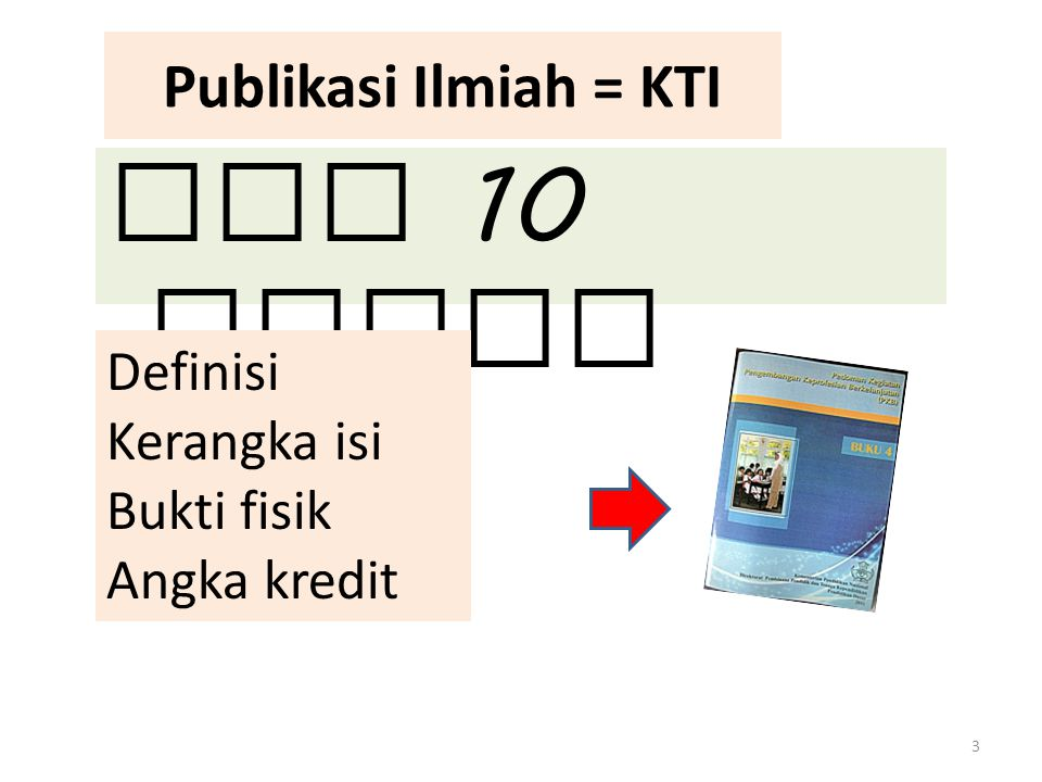 Publikasi Ilmiah = KTI Ada 10 macam 3 Definisi Kerangka isi Bukti fisik Angka kredit