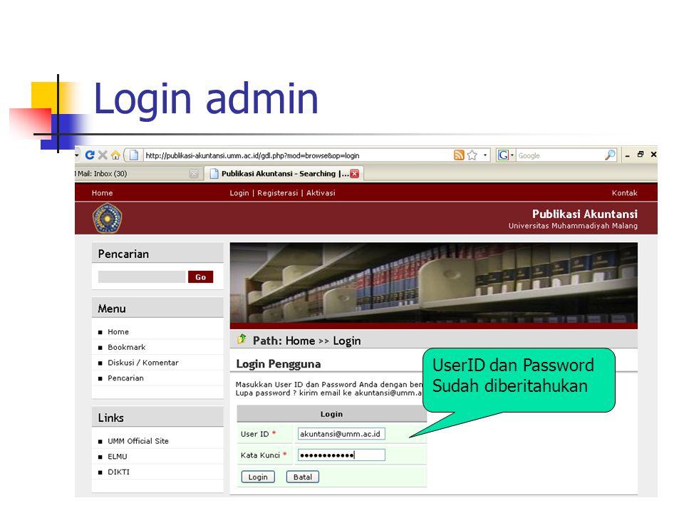 Login admin UserID dan Password Sudah diberitahukan