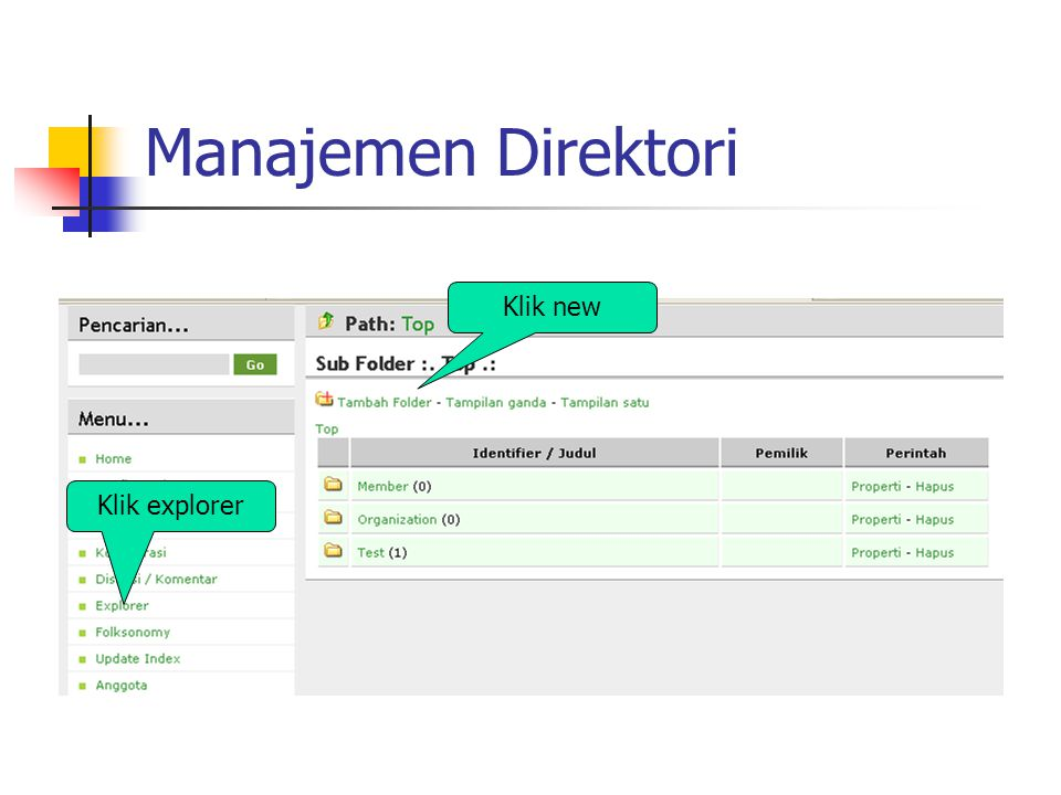 Manajemen Direktori Klik explorer Klik new