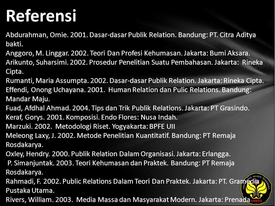 Referensi Abdurahman, Omie. 2001. Dasar-dasar Publik Relation. Bandung: PT. Citra Aditya bakti. Anggoro, M. Linggar. 2002. Teori Dan Profesi Kehumasan